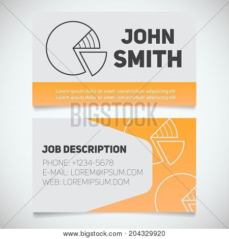 Business card print template with diagram logo. Manager. Marketer. Stockbroker. Economist. Stationery design concept. Vector illustration