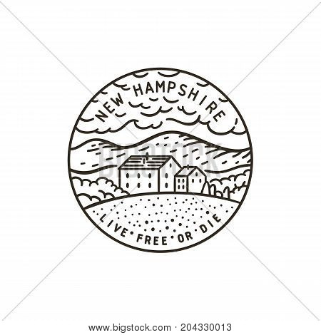 Vintage vector round label. New Hampshire. Mountains