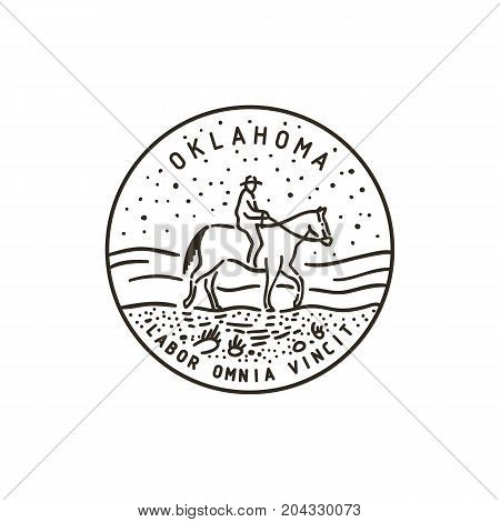 Vintage vector round label. Oklahoma. Cowboy on horse