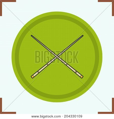Crossed billiard cues color icon. Isolated vector illustration