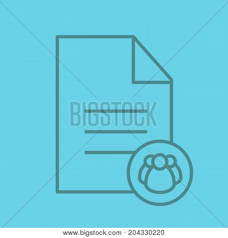 Petition linear icon. Group document. Text file with group of people. Thin line outline symbols on color background. Vector illustration