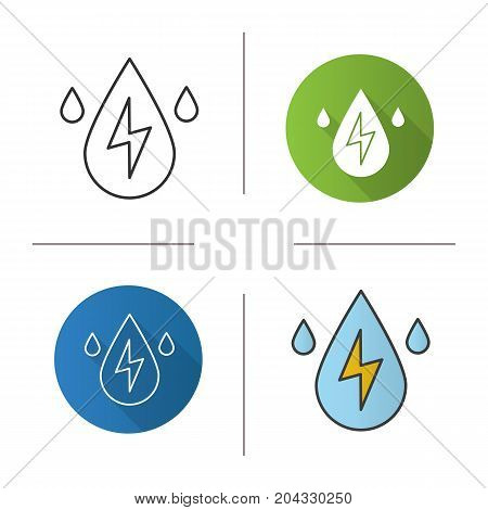 Water energy icon. Flat design, linear and color styles. Water drops with lightning inside. Hydro power plant. Isolated vector illustrations