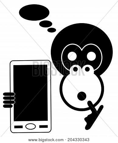 Monkey with smart phone isolated. Head of the monkey with smart phone thinks how to use it