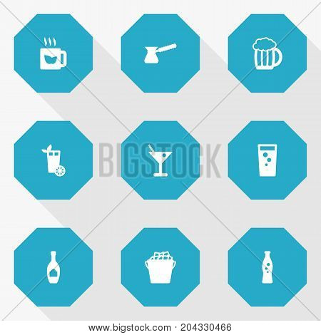 Collection Of Soda, Fizzy Water, Alcohol And Other Elements.  Set Of 9 Drinks Icons Set.