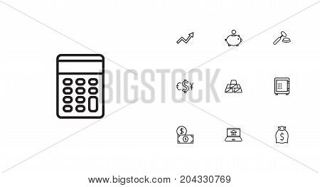 Collection Of Safe, Internet Banking, Golden Bars And Other Elements.  Set Of 10 Budget Outline Icons Set.