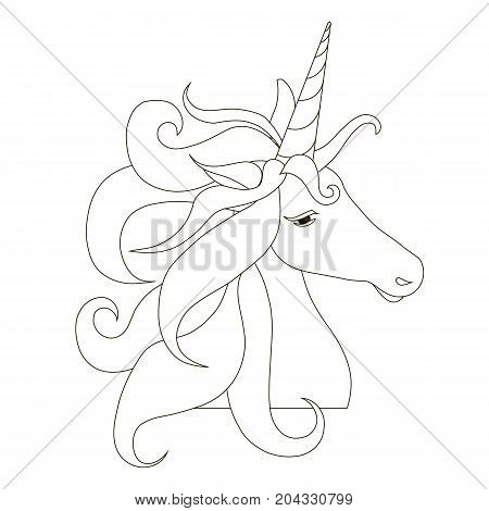 Sketch of unicorn head silhouette with lush mane on white stock vector illustration