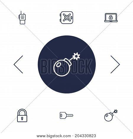 Collection Of Walkie-Talkie, Lock, Safe And Other Elements.  Set Of 6 Security Outline Icons Set.
