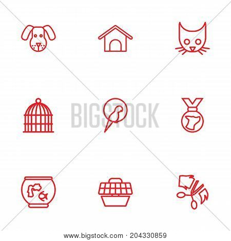 Collection Of Kennel, Grooming, Medal And Other Elements.  Set Of 9 Mammal Outline Icons Set.