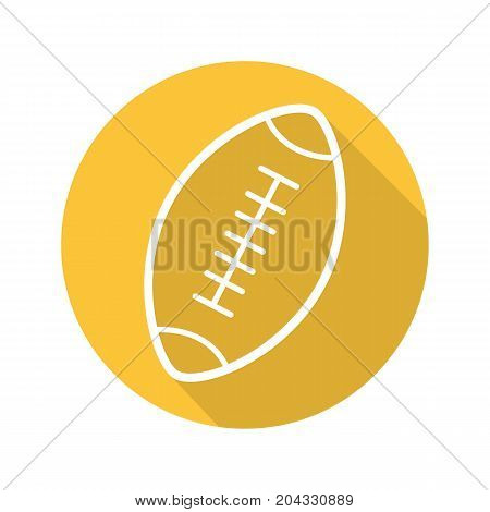 American football ball flat linear long shadow icon. Rugby ball. Vector outline symbol