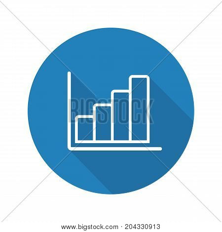 Growth chart flat linear long shadow icon. Business statistics graph. Vector outline symbol