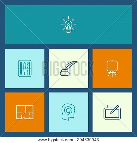 Collection Of Easel, Idea, Graphic Tablet And Other Elements.  Set Of 7 Constructive Outline Icons Set.