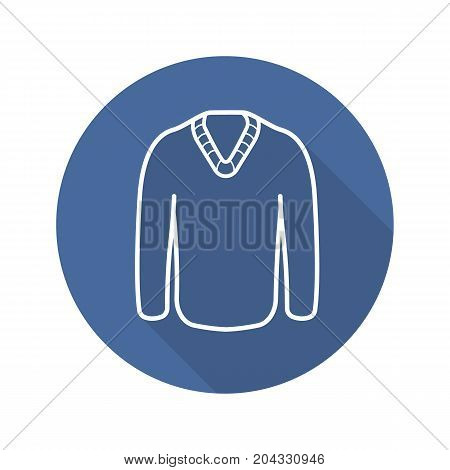 Sweater flat linear long shadow icon. Winter pullover. Vector outline symbol