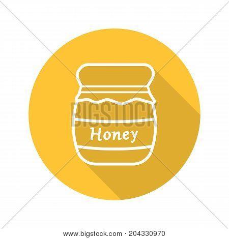 Honey jar flat linear long shadow icon. Covered honey pot. Vector outline symbol