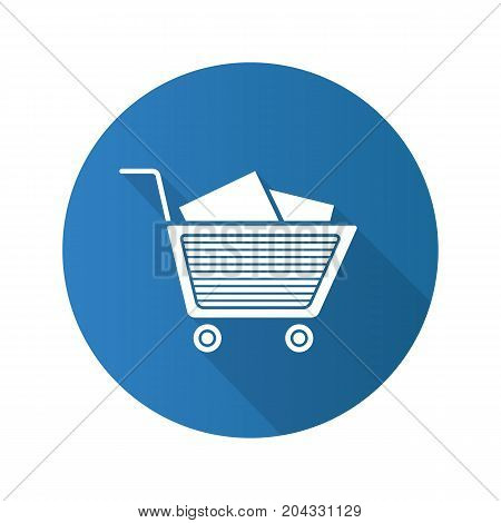 Shopping cart with boxes. Flat design long shadow glyph icon. Vector silhouette illustration