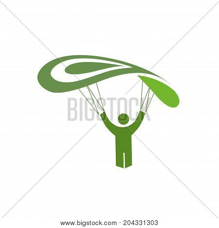 simple design Skydiver parachuting sport a vector illustration