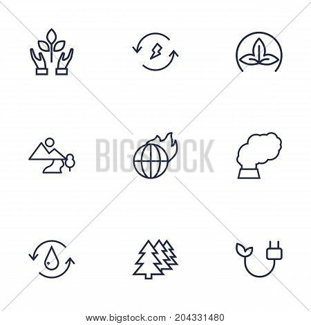 Collection Of Pollution, Eco, Water And Other Elements.  Set Of 9 Bio Outline Icons Set.