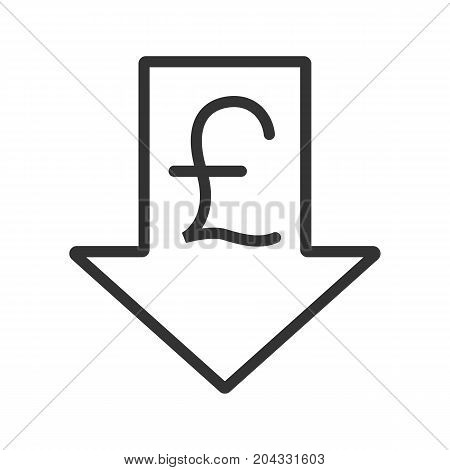 Pound rate falling linear icon. Thin line illustration. Great Britain pound with down arrow. Contour symbol. Vector isolated outline drawing