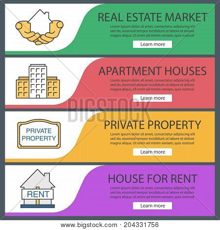 Real estate web banner templates set. House in hands, multi-storey building, private property sign, house for rent. Website color menu items. Vector headers design concepts