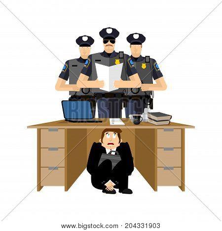 Businessman Scared Under Table Of Policemen. Frightened Business Man Under Work Board. Arrest Police