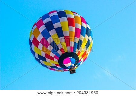 Looking Up Into A Colorful Hot Air Balloon