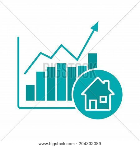 Real estate market growth chart glyph color icon. Houses price rise. Silhouette symbol on white background. Negative space. Vector illustration