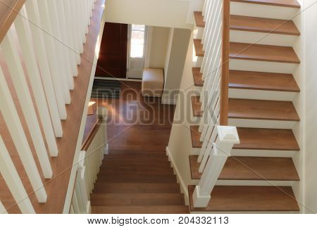 staircase home interior wood and white paint modern style steps and handrail