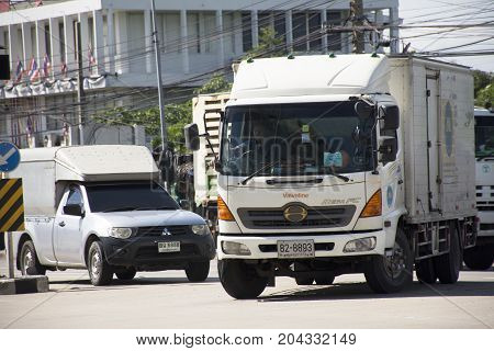 View Landscape Of Traffic Road And Truck On Street At Amphoe Phra Samut Chedi
