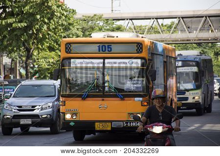 View Traffic Road And Bus Of Bangkok Mass Transit Authority, Bmta Running On Street