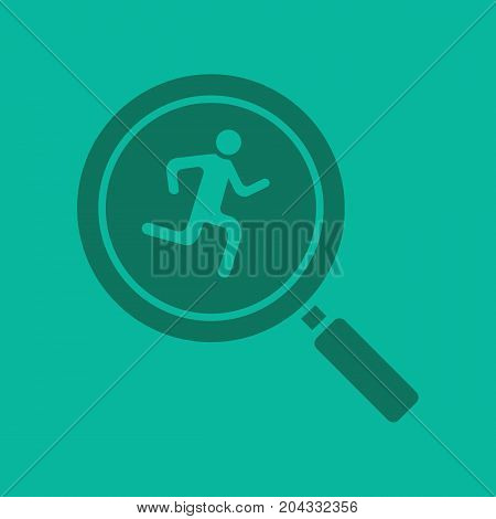 Running man inside loupe glyph color icon. Silhouette symbol. Magnifying glass with runner. Negative space. Vector isolated illustration