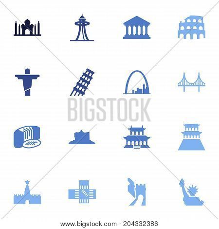 Collection Of Seattle, Bridge, America And Other Elements.  Set Of 16 Famous Icons Set.
