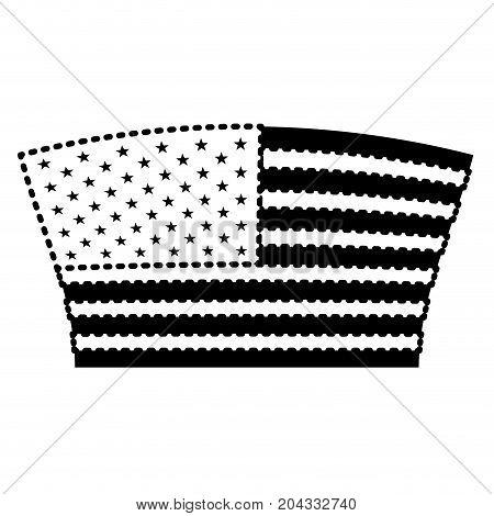 flag united states of america geometric design black silhouette on white background vector illustration