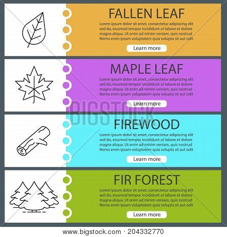 Forest web banner templates set. Maple leaf, fir trees, firewood. Website color menu items with linear icons. Vector headers design concepts