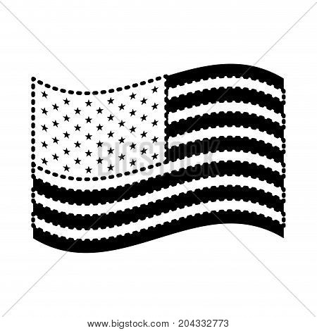 flag united states of america waving design black silhouette on white background vector illustration