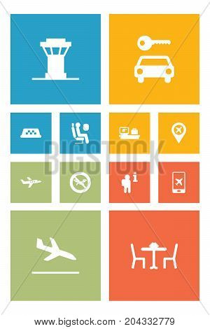 Collection Of Air Traffic Controller, Pinpoint, Electron Payment And Other Elements.  Set Of 12 Plane Icons Set.