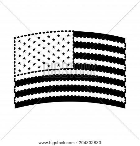 flag united states of america wave in design black silhouette on white background vector illustration