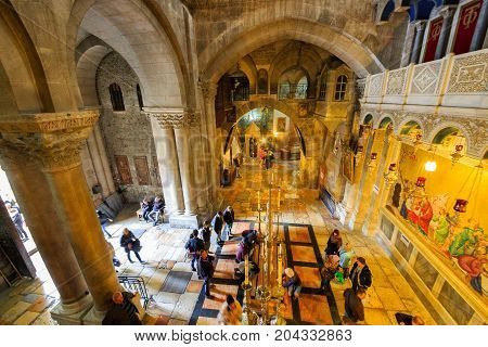 Jerusalem, Israel - Feb 04, 2017: View To Stone Of Anointing From Mount Calvary
