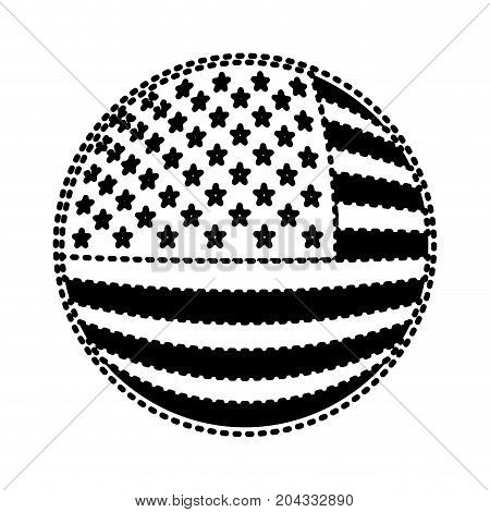 shield in circular shape with flag united states of america black silhouette on white background vector illustration