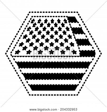shield in hexagon shape with flag united states of america black silhouette on white background vector illustration