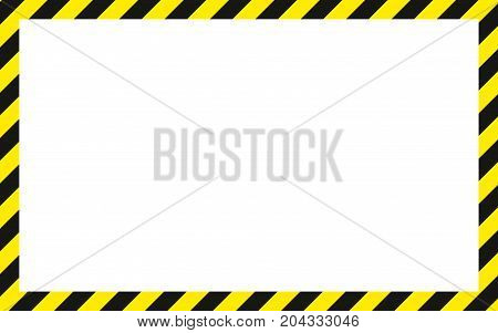 warning striped rectangular background yellow and black stripes on the diagonal warning to be careful potential danger vector template sign border yellow and black color Construction warning border.