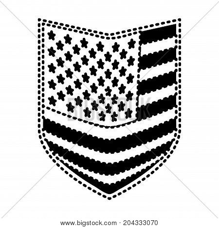 shield of flag united states of america black silhouette on white background vector illustration