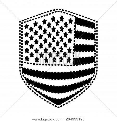 badge of flag united states of america black silhouette on white background vector illustration