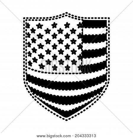 badge with flag united states of america black silhouette on white background vector illustration