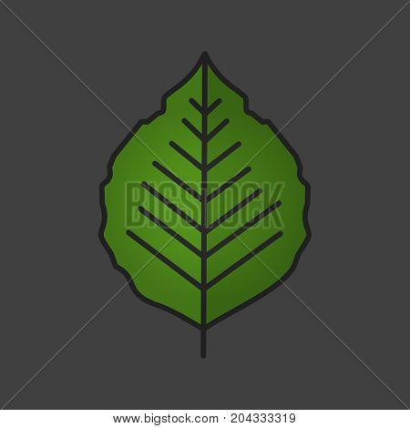 Poplar leaf color icon. Isolated vector illustration