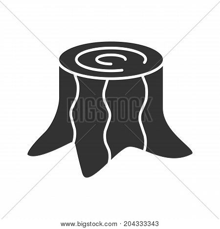 Stump glyph icon. Silhouette symbol. Deforestation. Negative space. Vector isolated illustration