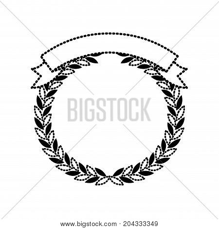 olive branches forming a circle with ribbon thick on top black silhouette dotted vector illustration