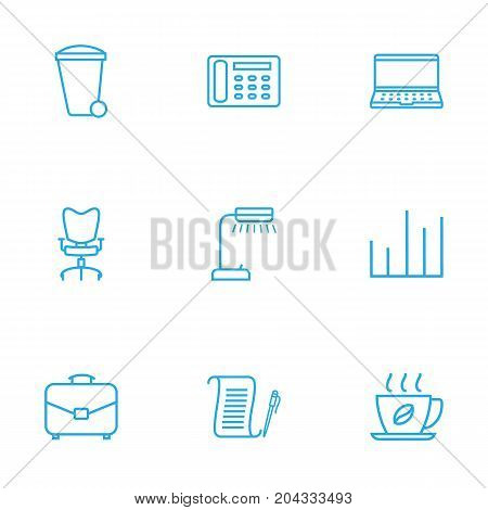 Collection Of Recycle Bin, Agreement, Chart And Other Elements.  Set Of 9 Cabinet Outline Icons Set.