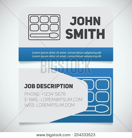 Business card print template with eye shadow logo. Cosmetologist. Visagist. Stationery design concept. Vector illustration