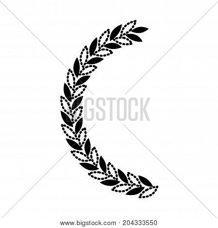 olive branch half bow in black silhouette dotted vector illustration