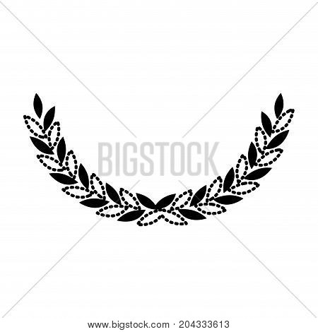 olive branch closeup in black silhouette dotted vector illustration