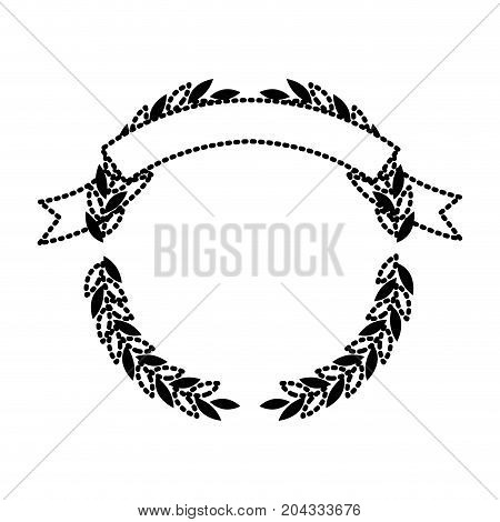 olive branches forming a circle with ribbon on top black silhouette dotted vector illustration